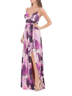 Floral-Print Slit Gown by Js Collections