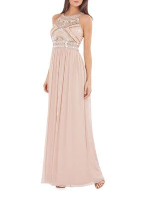 Beaded Halterneck Gown by Js Collections