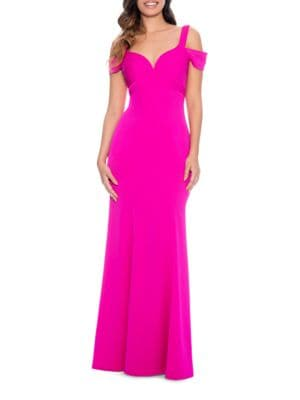 Solid Cold-Shoulder Flared Gown by Decode 1.8