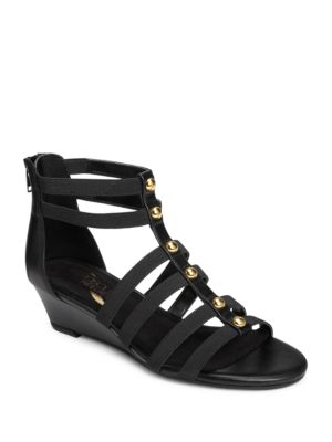 Awesome Faux Leather Studded Wedge Sandals by Aerosoles