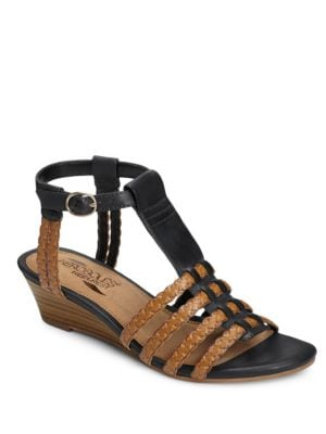 Bittersweet Faux Leather T-Strap Wedge Sandals by Aerosoles