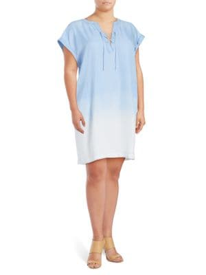 Lace-Up Chambray Shift Dress by Jessica Simpson Plus