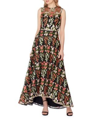 Floral Embroidered Mesh A-Line Gown by Tahari Arthur S. Levine