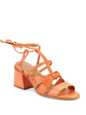 Piper Leather Block-Heel Sandals by H Halston