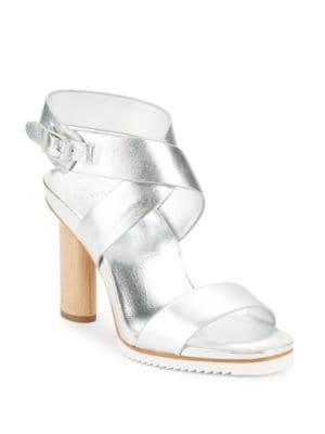 Nala Metallic Leather Sandals by H Halston