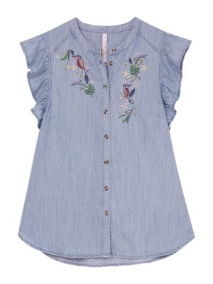 Embroidered Denim Top by Melissa Mccarthy Seven7
