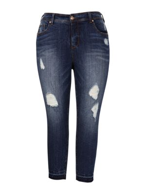 Distressed Five-Pocket Jeans by Melissa Mccarthy Seven7