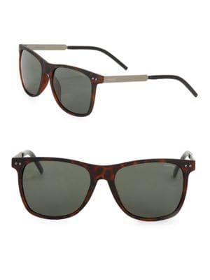 Matte Havana 55mm Square Polarized Sunglasses by Polaroid