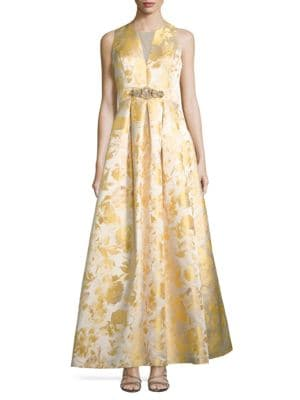 Floral Textured Sleeveless Gown by Eliza J