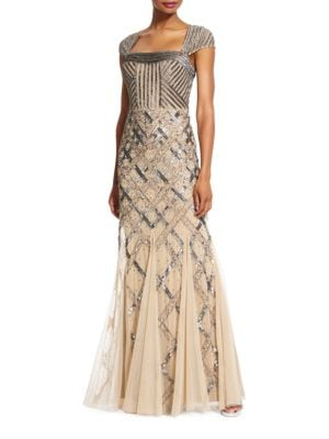 Sequined Cap-Sleeve Gown by Adrianna Papell