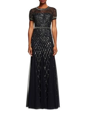 Geometric Sequined Gown by Adrianna Papell