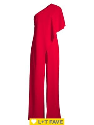 Solid One-Shoulder Jumpsuit by Adrianna Papell