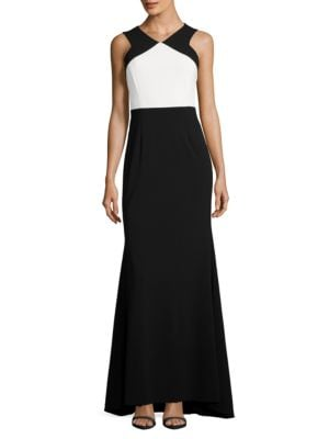 Halterneck Colorblocked Gown by Calvin Klein