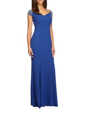 Cap Sleeve Trumpet Gown by Alex Evenings