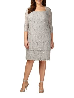 Sequined Squareneck Lace Shift Dress by Alex Evenings