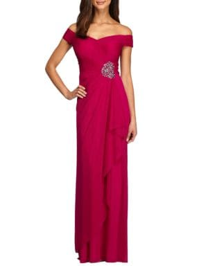 Embellished Off-The-Shoulder Gown by Badgley Mischka