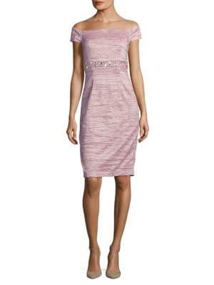 Off-the-Shoulder Beaded Dress by Eliza J