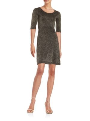 Metallic Knit A-Line Dress by Marc New York Andrew Marc