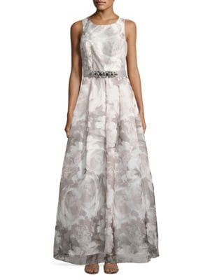 Floral-Print Fit-and-Flared Gown by Eliza J