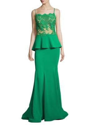 Embroidered Peplum Gown by Nicole Bakti