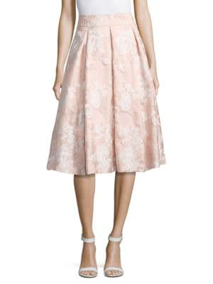 Floral Textured Pleated Skirt by Eliza J