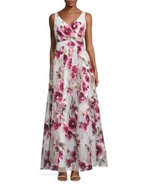 Sleeveless Floral-Print Gown by Xscape