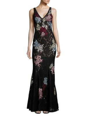 Sleeveless Floral-Motif Sheath Gown by Betsy & Adam
