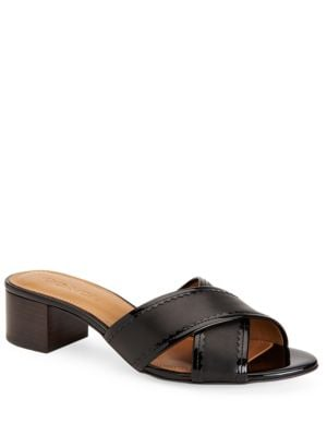Murielle Leather Crisscross Slide Sandals by COACH