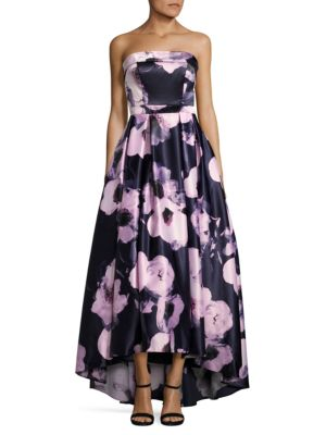 Floral-Print Hi-Lo Gown by Xscape