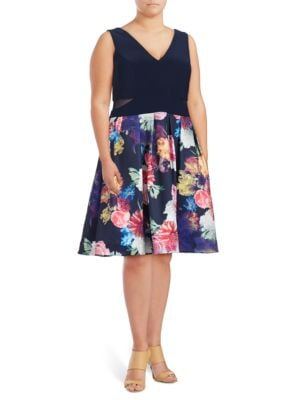 Plus Mesh Cutout Sleeveless Dress by Xscape