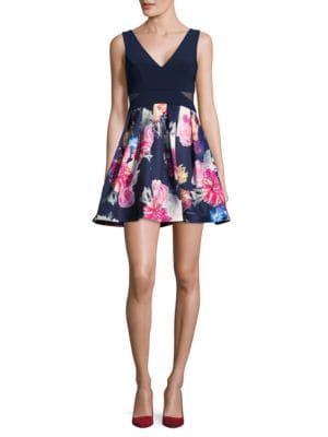 Floral-Print Fit-and-Flare Dress by Xscape
