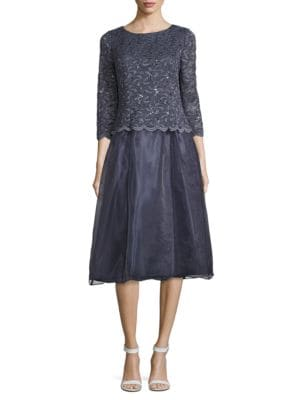 Scalloped Floral-Lace Dress by Alex Evenings