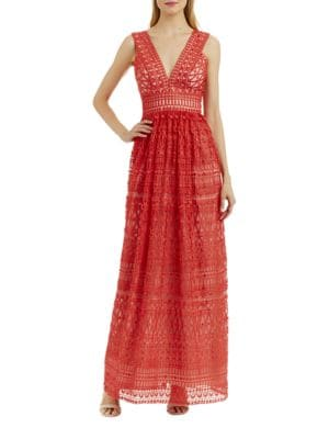 Semi-Sheer Lace Gown by Nicole Miller New York
