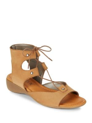 Band On The Run Lace-Up Leather Sandals by The Flexx