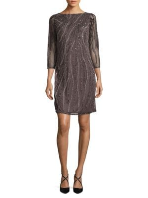 Sequined Sheer-Sleeve Dress by J Kara