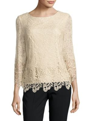 Solid Lace Top by Alex Evenings