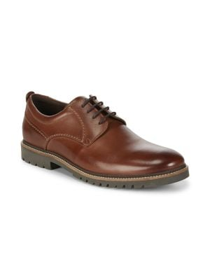 Marshall Leather Plain Toe Oxford Shoes 500086974732