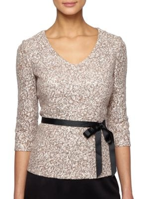 V-Neck Sequined Blouse by Alex Evenings