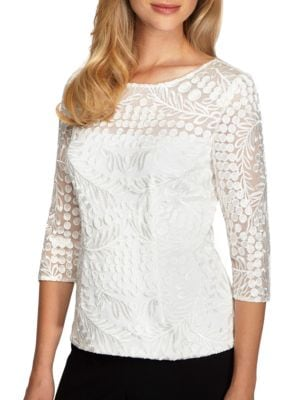 Boatneck Lace Top by Alex Evenings
