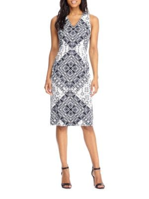 Printed Sleeveless Dress by Maggy London