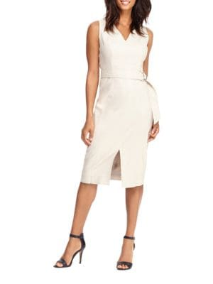 Solid Front-Slit Sleeveless Dress by Maggy London