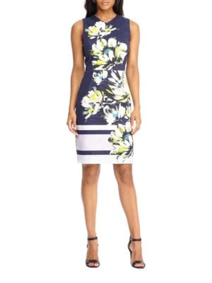 Floral-Print V-Neck Dress by Maggy London