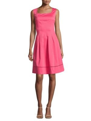 Cotton-Blend Fit-and-Flare Dress by Ellen Tracy