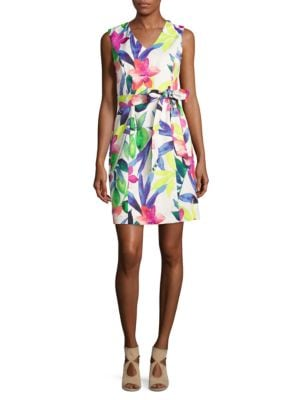 Floral Belted Dress by Ellen Tracy