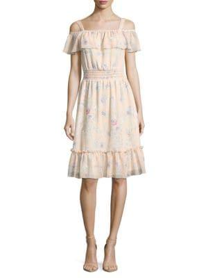 Cold Shoulder Chiffon Ruffle Dress by Tommy Hilfiger