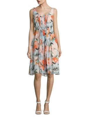 Pleated Floral Dress by Donna Morgan