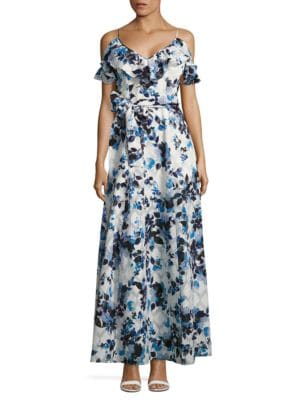 Cold-Shoulder Floral-Print Gown by Eliza J