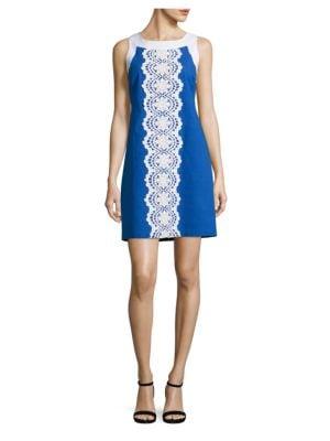Lace-Panel Linen-Blend Dress by Eliza J