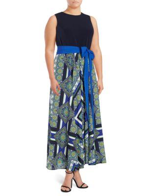 Sleeveless Mixed Print Dress by Eliza J