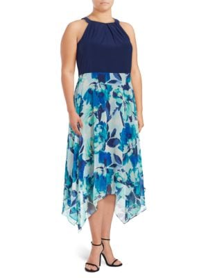 Plus Printed Halterneck Dress by Eliza J